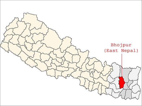 Bhojpur village in map of Nepal