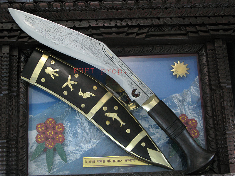 Dragon craved Dhankute kukri with wooden scabbard
