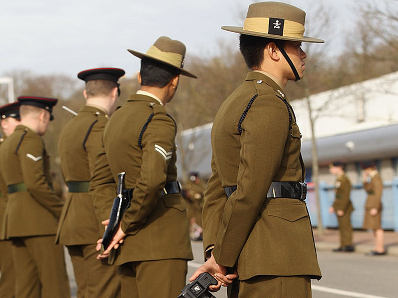 gurkha army in ceremonial dress with kukri knife