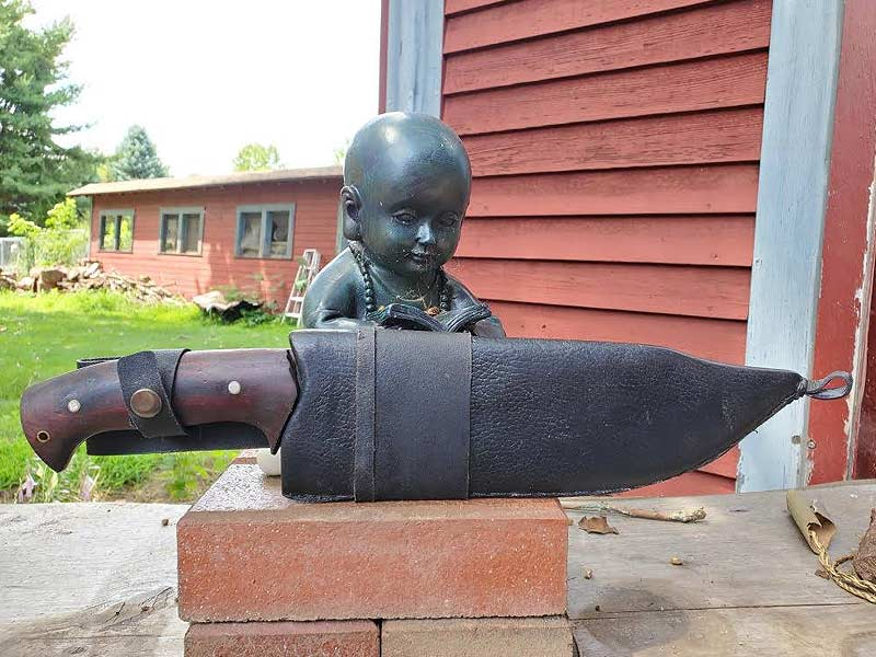 Custom designed Preacher bowie knife in sheath