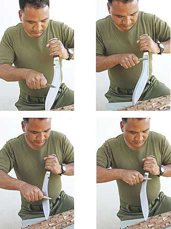 how to use karda and chakmak to sharpen a kukri