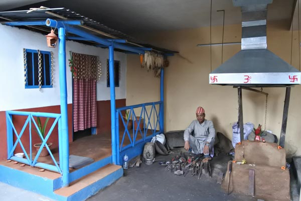 primitive workplace of Kami (nepali blacksmith)