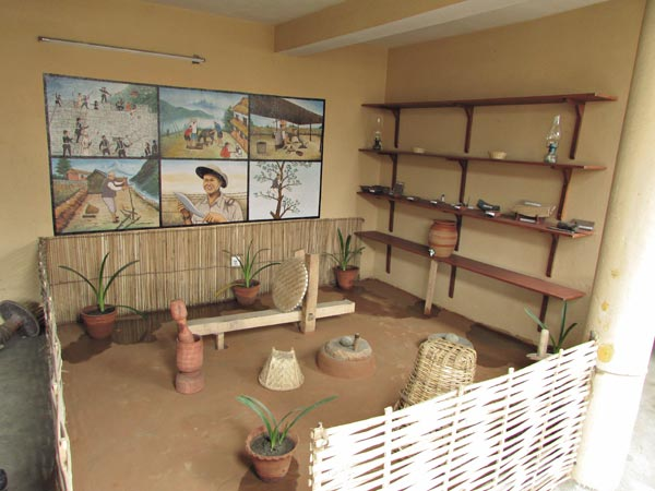 displaying primitive raw materials and old nepali lifestyle
